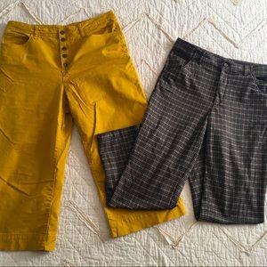Mustard and plaid pants bundle